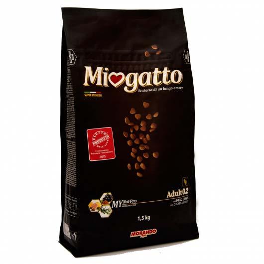 Фото старой упаковки сухого корма Морандо Миогатто для взрослых кошек с курицей и рисом, 1.5 кг