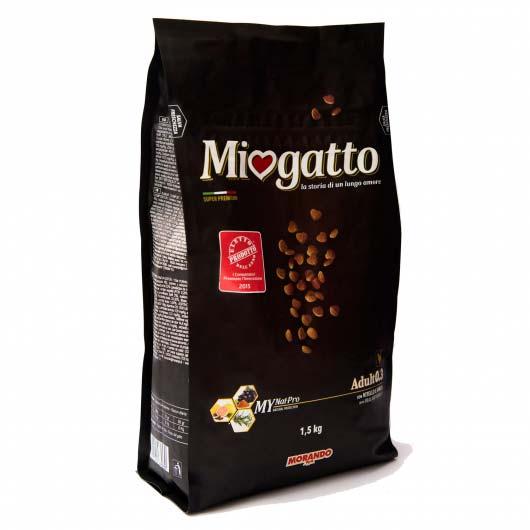 Изображение упаковки сухого корма Morando Миогатто для взрослых кошек 0.3 с телятиной и ячменем, 1,5 кг