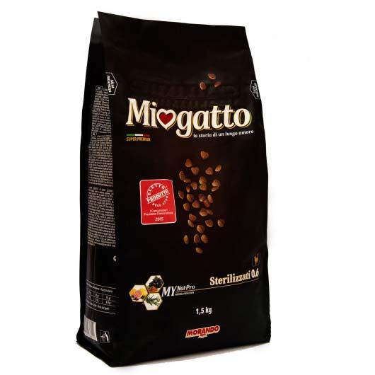 Старый дизайн упаковки корма Миогатто для стерилізованих котів 0.6, 1,5 кг