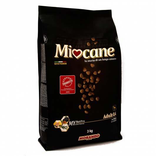 Фото упаковки предыдущего образца корма сухого супер премиум Миокане для взрослых собак 0.5 с ягненком и рисом, 3 кг