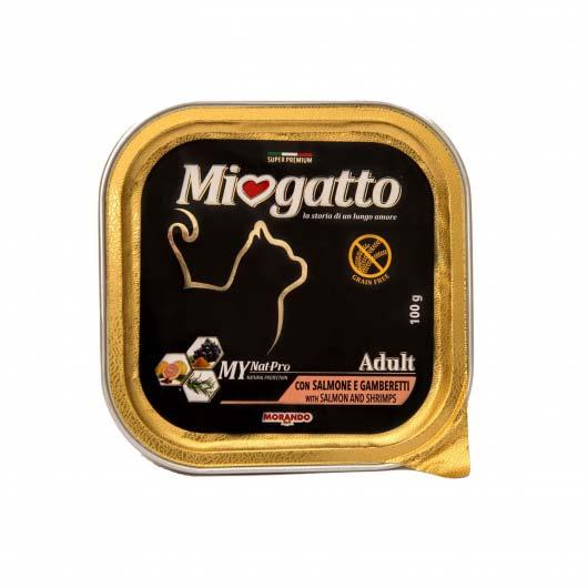 Корм вологий Міогатто для дорослих котів з лососем та креветками, 100 г