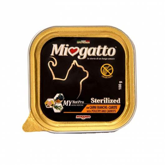 влажный корм Miogatto для стерилизованных кошек с птицей и морковью, 100 г