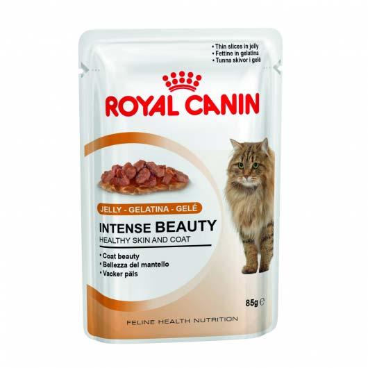 Фото корма для кошек Royal Canin INTENSE BEAUTY IN JELLY для здоровой кожи и красивой шерсти в желе  (дизайн до 2018 года)