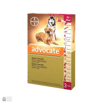 Адвокат 10-25 кг 1 уп.(3 пипетки*2,5мл) для собак (инсектоакарицид,антигельминтик)