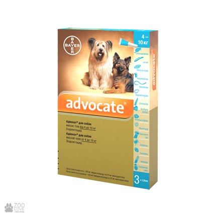 Адвокат 4-10 кг 1 уп.(3 пипетки*1мл) для собак (инсектоакарицид,антигельминтик)