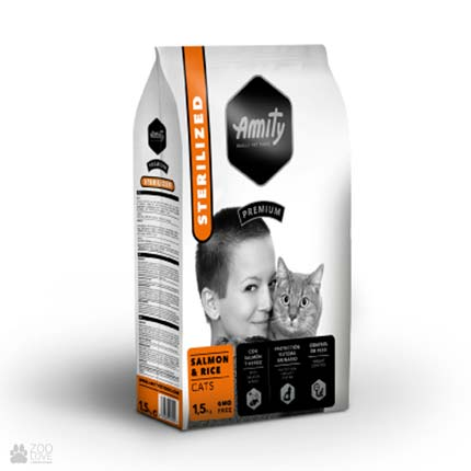 Сухой корм для стерилизованных кошек Amity Sterilized Salmon