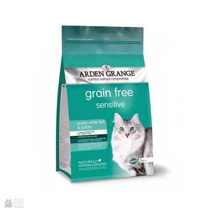 корм для кошек с рыбой и картофелем Arden Grange Adult Sensitive Cat Ocean White Fish & Potato
