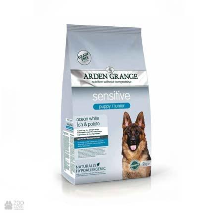 корм для щенков с белой рыбой и картофелем Arden Grange Sensitive Puppy / Junior Ocean White Fish & Potato