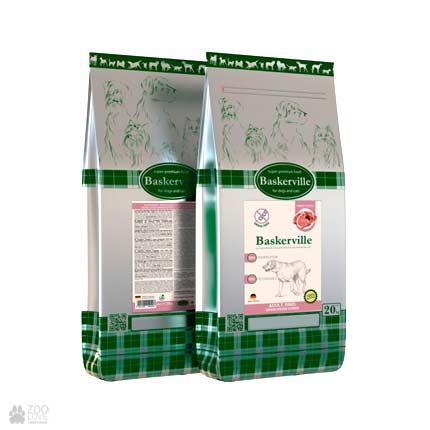 Фото упаковки сухого беззернового корма для собак крупных пород Baskerville Adult Getreidefrei Rind 20 кг