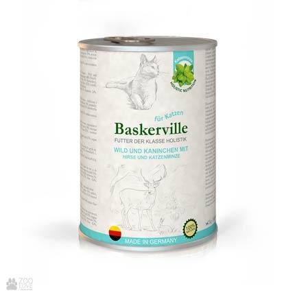 Baskerville Holistic Wild und Kaninchen Mit Hirse und Katzenminze, консервы для кошек, с олениной, кроликом и кошачьей мятой