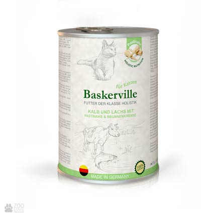 Baskerville Holistic Kalb und Lachs Mit Pastinake & Brunnenkresse, консервы для кошек, с телятиной, лососем, пастернаком и кресс-салатом
