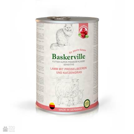 Baskerville Sensitive Lamm Mit Preiselbeeren und Katzengras, консервы для кошек, с ягненком, клюквой и кошачьей мятой