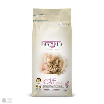 корм для кошек с ягненком и рисом BonaCibo Adult Cat Light & Sterilized
