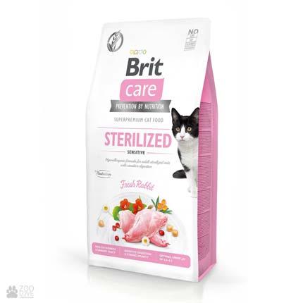 Brit Care Cat Grain Free Sterilized Sensitive, беззерновой корм для стерилизованных котов с чувствительным пищеварением