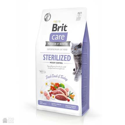 Brit Care Cat Grain Free Sterilized Weight Control, беззерновой корм для стерилизованных котов для контроля веса