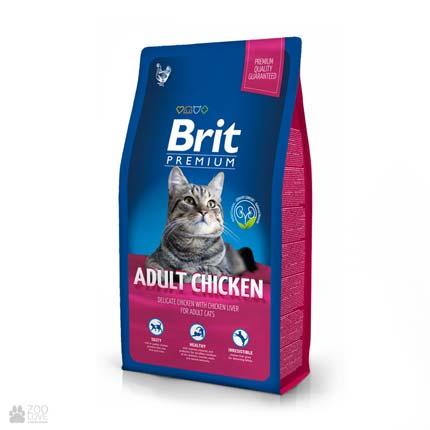 корм Брит Премиум для взрослых кошек с курицей Brit Premium Cat Adult Chicken