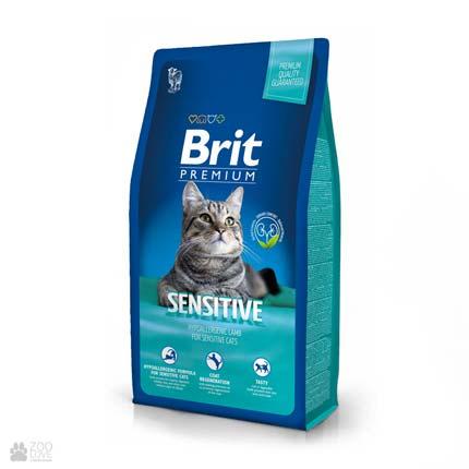 корм Брит Премиум для кошек с чувствительным пищеварением с курицей Brit Premium Cat Sensitive
