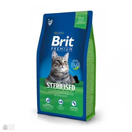 сухой корм Брит Премиум Стерилайзд для стерилизованных кошек с курицей Brit Premium Cat Sterilised