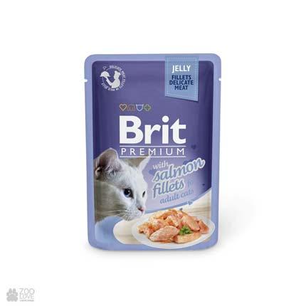 влажный корм (консервы в паучах) Брит Премиум для взрослых кошек с лососем Brit Premium Salmon Fillets Gravy