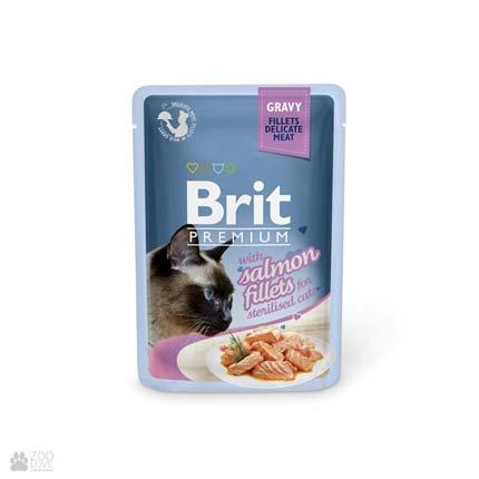 влажный корм (консервы в паучах) Брит Премиум для стерилизованных кошек с лососем Brit Premium Salmon Fillets Gravy for Sterilised Cats