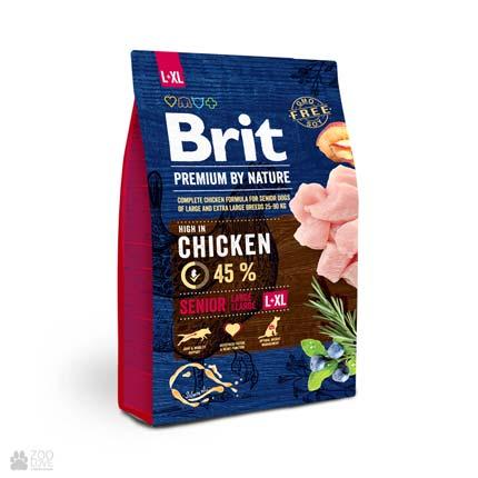 корм для пожилых собак крупных пород с курицей Brit Premium Senior L+XL