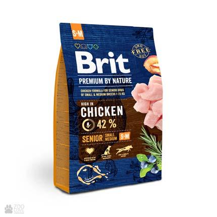 корм для пожилых собак малых и средних пород с курицей Brit Premium Senior S+M