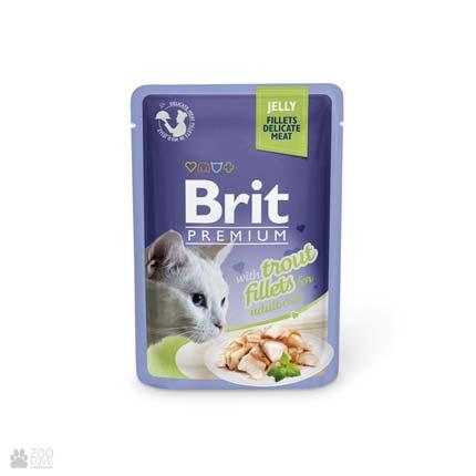 влажный корм (консервы в паучах) Брит Премиум для взрослых кошек с форелью Brit Premium Cat Trout Fillets Jelly