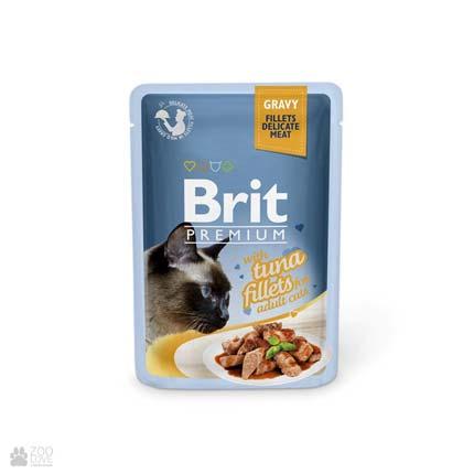 влажный корм (консервы в паучах) Брит Премиум для взрослых кошек с лососем Brit Premium Tuna Fillets Gravy