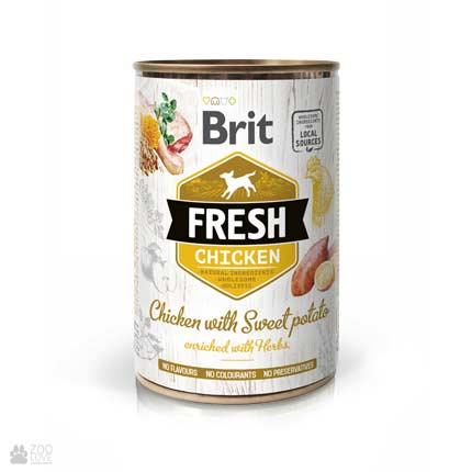 Brit Fresh Chicken/Sweet Potato, консервы для собак, курица,батат
