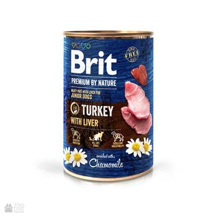 Консервы для собак Brit Premium by Nature Turkey with Liver Pate