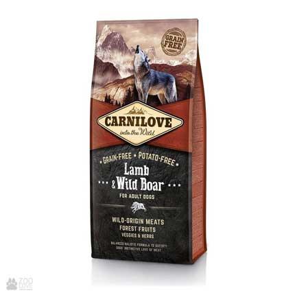 Беззерновой холистик корм для собак, ягненок и дикий кабан Carnilove Adult Lamb & Wild Boar
