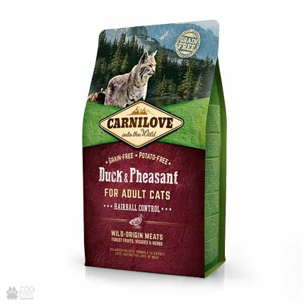 корм для кошек для выведения шерстяных  Carnilove Hairball Control Duck & Pheasant