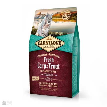 корм для стерилизованных котов Carnilove Sterilised Fresh Carp & Trout