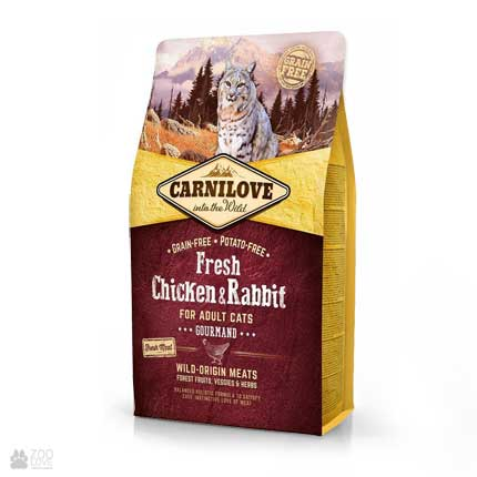 корм для взрослых котов Carnilove Gourmand Fresh Chicken & Rabbit