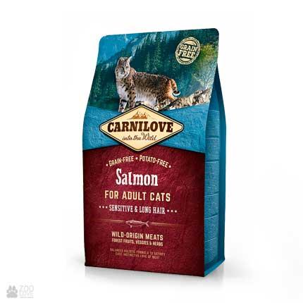 корм для кошек с чувствительным пищеварением Carnilove Sensitive & Long Hair Salmon Grain Free