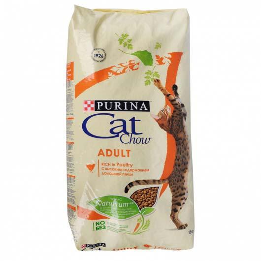 Изображение упаковки корма сухого Cat Chow для взрослых котов с курицей и индюком, 15 кг