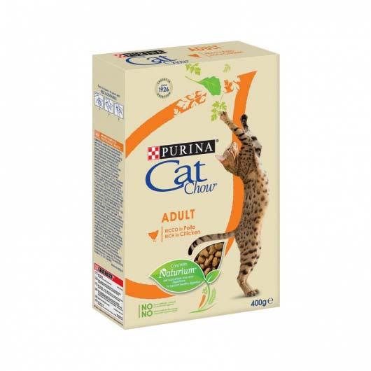 Фото упаковки корма сухого Cat Chow для взрослых котов с курицей и индюком, 400 г.
