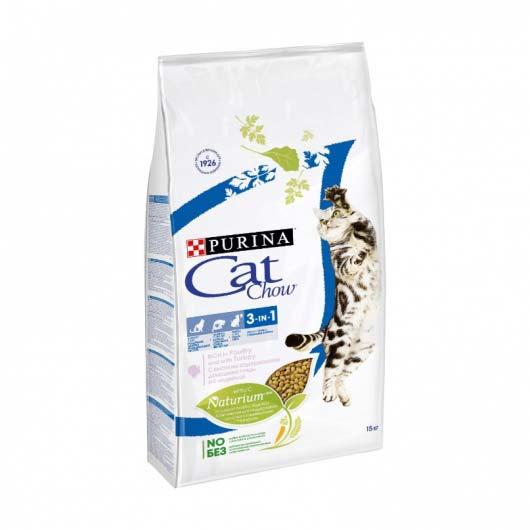 Фото упаковки сухого корма Cat Chow FELINE 3IN1, 1,5 кг