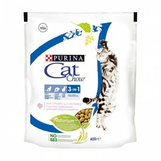 Фото упаковки сухого корма Cat Chow FELINE 3IN1, 400 г.