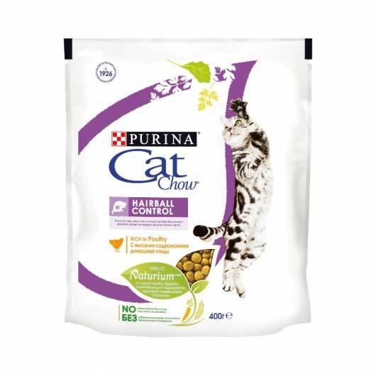 Фото упаковки корма для кошек Purina Cat CHOW Hairball Control, 400 г