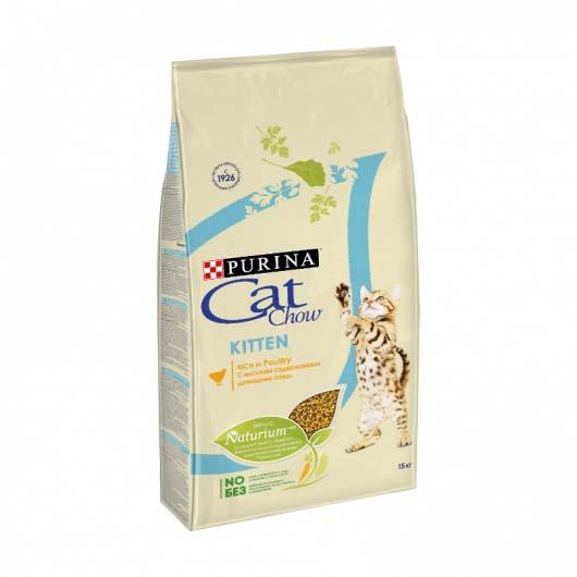Изображение упаковки корма сухого Cat Chow Kitten для котят, с курицей, 15 кг