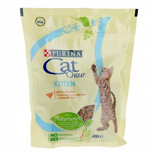 Фото упаковки корма сухого Cat Chow Kitten для котят, с курицей, 400 г.