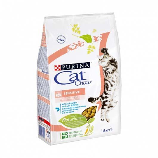 Изображение упаковки корма сухого Cat Chow Sensitive 1,5 кг