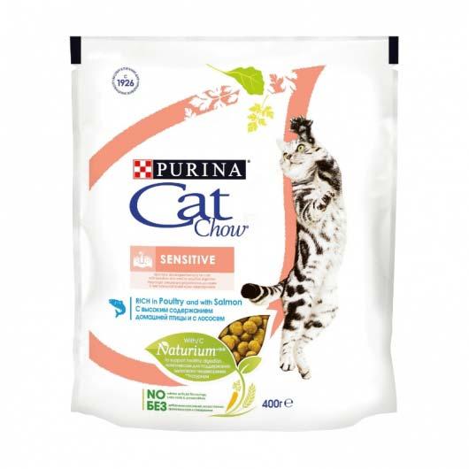 Фото упаковки корма сухого Cat Chow Sensitive 400 г.