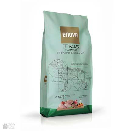 Сухой корм для собак с кроликом, свининой и уткой Enova Tris Formula