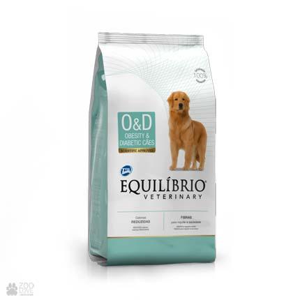Сухой ветеринарный корм для собак при ожирении, диабете Equilibrio Obesity & Diabetic OD (новый дизайн)