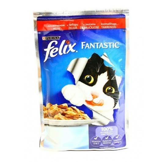 Корм Felix Фантастик для котов, говядина, 85