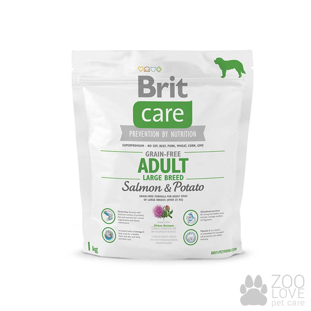 Brit Care Grain Free Adult Large Breed Salmon & Potato 1 кг, корм для собак весом от 25 кг