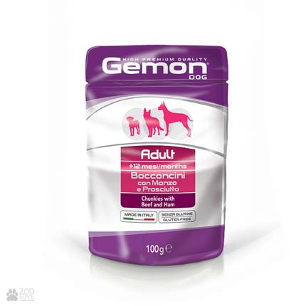 Консервы для собак Gemon Adult, Chunkies with Beef and Ham