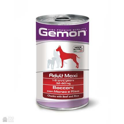 Консервы для собак Gemon Adult Maxi, Chunks with Beef and Rice, с говядиной и рисом